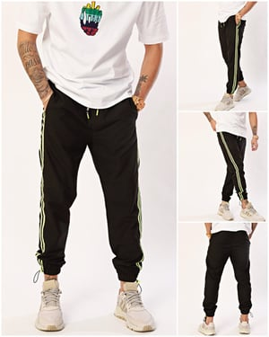 Nohow Men's Jogger Trousers Striped Hem With Elastic Black-2