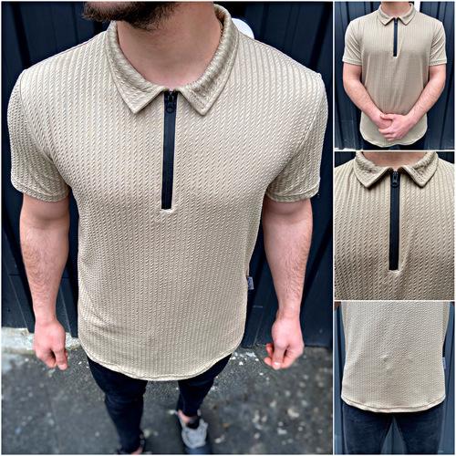 Nohow Polo Neck Zippered Men's T-Shirt Beige