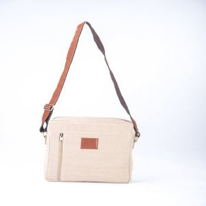 Sling Jute Bag With Leather Handle