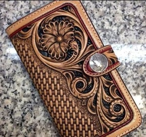 Ladies Printed Leather Clutch Purse