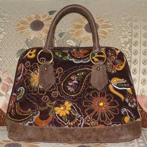 Brown Paisly Satchel Leather Tote Bag