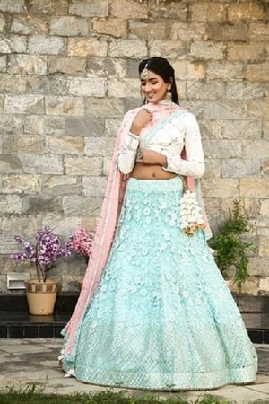 Pastel Shades Woven Georgette Stitched Lehenga With Dupatta
