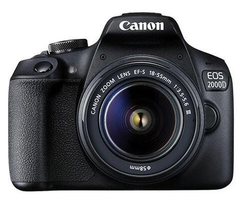 Canon EOS 2000D (Rebel T7) Black DSLR Camera Kit EF-S 18-55mm F3.5-5.6 III Lens