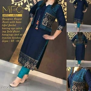 Trendy Navy Blue Kurti with Separate Jacket