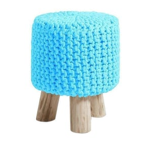 Hand Knitted Cotton Pouffe Footstool