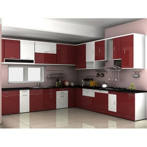 L Shaped Wooden Modular Kitchen Cabinets