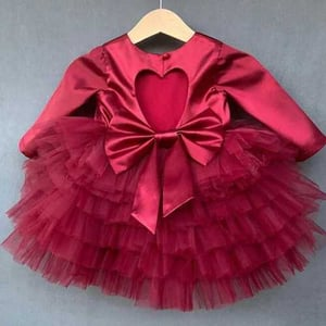 Red Net And Satin Baby Girl Dress
