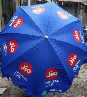 Single Fold Printed Promotional Stall Polyester Umbrella