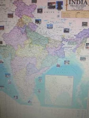 India Physical Map in Thermal Lamination