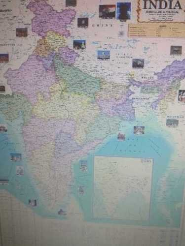 Various India Physical Map In Thermal Lamination