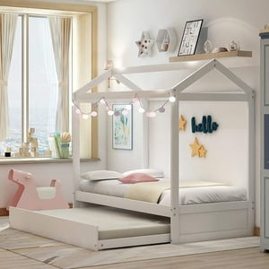 Merax Twin Frame, Solid Wood House Bed For Kids, No Box Spring Needed, White(With Trundle)