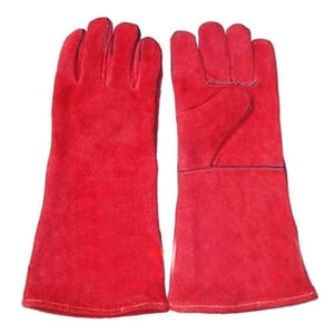 Red Plain Leather Glove