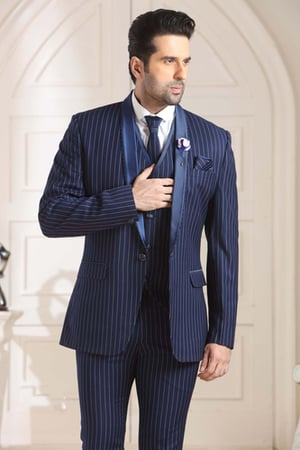 Mens Blazer 3 Piece With Suit Blue Lining