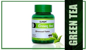 Slimjim Green Tea with Garcinia Cambogia  Tulsi Ginger Lemon Organic Green Tea Effervescent Tablets For Natural Weight Loss , Immunity booster 30 Veg Tablets.