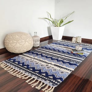 Cotton Printed Handloom or Handmade Multicolor Designer Woven Knotted Flat Weave Floor Rugs