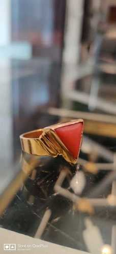 22 Gold Ring With Italian Red Coral