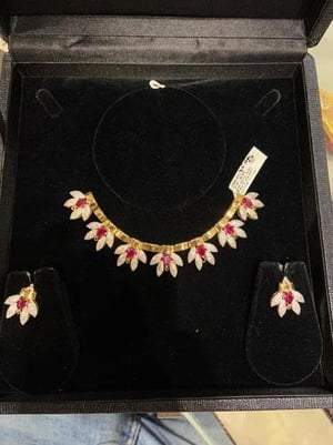 Diamond And Ruby Necklace Set