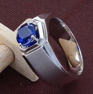 Silver Ring With Blue Sapphire
