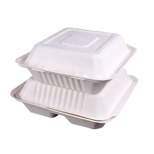 Disposable Bagasse Clamshell 8 Inch 3 Compartment Food Container Box