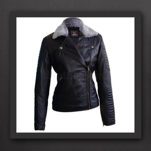 Ladies Leather Double Breasted Feather Jacket