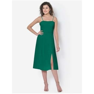 Womens Green Tie Up Strap Front Slit Dress