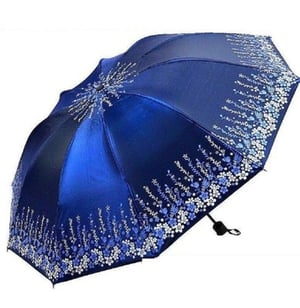 Printed Blue Polyester Two Fold Casual Umbrella