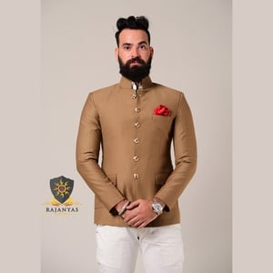 Camel Brown Bandhgala Blazer With Handcrafted Buttons