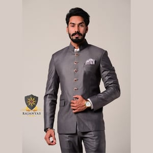 Iron Grey Bandhgala Suit With Handpainted Stone Buttons