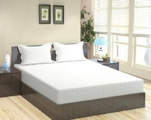 250TC Pure Cotton White Satin Stripe Queen Size Bedsheet with 2 Pillow Covers (90x100 Inches)