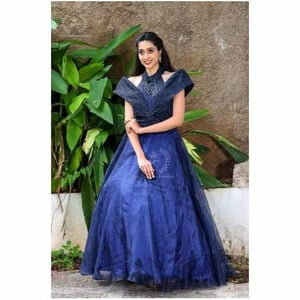Ladies Blue Gown Dress With Hand Work