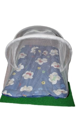 Blue Baby Mosquito Cotton Net Bed With Pillow