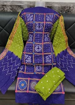 Cotton Satin Embroidery Work Bandhej Suit