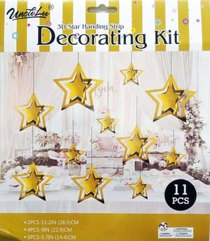 Hippity Hop 3 D Star Hanging Garland For Party Decoration Set Of 11 Pcs