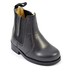High Ankle Black Leather Without Laces Kids Boots