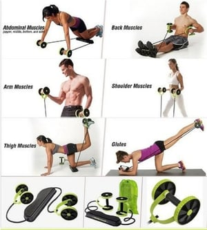 Portable Personal Double Wheeled Resistance Rope Exerciser