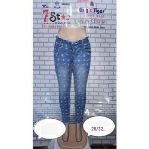 King'S Tiger Casual Wear Stretchable Printed Fancy Women Denim Jeans