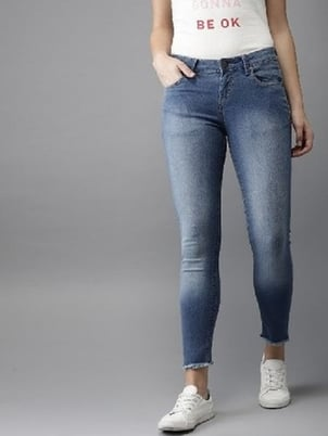 Made In India Curvature Ladies Ankle Length Stretchable Knitted Denim Jeans