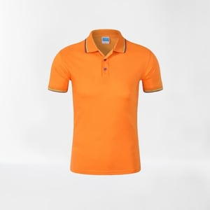 Plain Pattern Pure Cotton Mens Yellow Regular Fit Buttoned Stripped Style Polo T Shirt