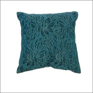 Floral Teal Jacquard Square Cushion Cover