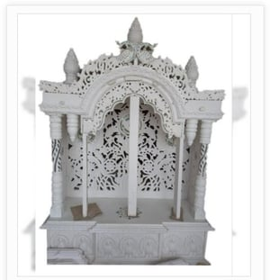 White Carved Polished Marble Home Temple