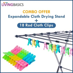 LIVINGBASICS Stainless Steel Expandable and Foldable Clothes Drying Stand , Butterfly Model Combo with 18 Rod Cloth Clips