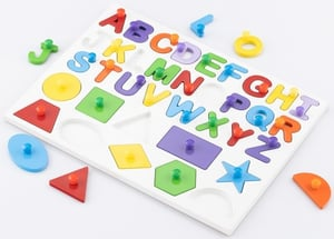 Capital Alphabets With 10 Shapes Wooden Tray Puzzle