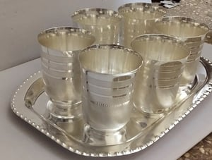 Silver Plated Glass Tray Set