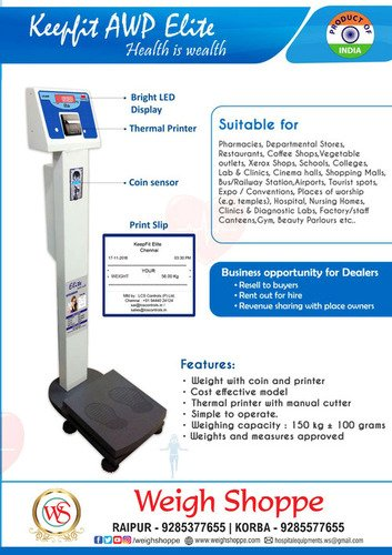 Metal Coin Operated Weight Machine