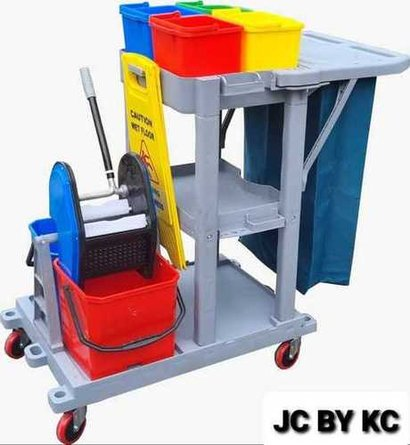 Janitor Cart With Double Bucket Mopping Trolley Application: House Keeping