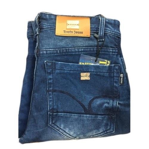 Blue Skinny Denim Knitted Skin Fit Jeans For Men