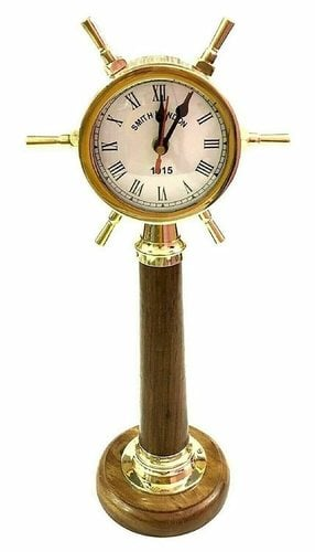 L A Brass Ship Handle Table Desk Clock Roman Number Wood Stand 12 inch Height