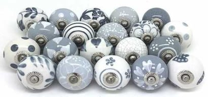 Various Colors Are Available Printed Design Round Ceramic Door Knobs