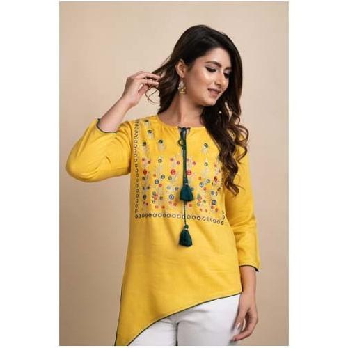 Women Embroidered Mustard Three Fourth Sleeve Kurti