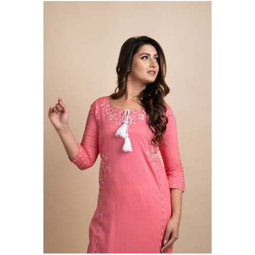 Women Embroidered Pink Three Fourth Sleeve Kurti